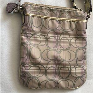 Coach crossbody/messenger mettalic  purse